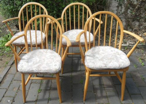 Set of Four Light Elm Kitchen Armchairs by Ercol